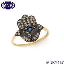 Retro Gold Evil Eye Finger Ring Hand Of Fatima Hamsa Ring
