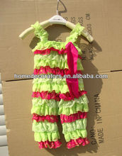 lime green hot pink baby green lace romper pant