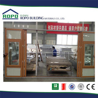 UPVC wood color 6 panels stained glass sliding doors