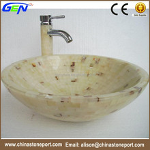 Single Hole Countertop Sinks Natural Onyx Marble Bathroom Sink