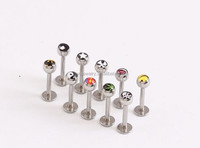 LP005 4mm ball 4mm flat ends hippie surgical Steel T bar personality pictures of skull lip piercing