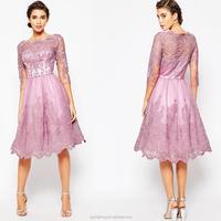 Premium Lace Midi Prom Dress with Bardot Neck and 3/4 Sleeve Bridesmaid dress