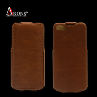 Brown color genuine leather flip case for iphone 6s