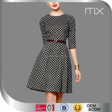 Fashion Ladies Office Evening Dress Half Sleeves Design Dress Black And White Plaid Dress