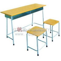 High Quality Double Student Desk and Stool, Double Student Desk and Chair Used Middle/High School