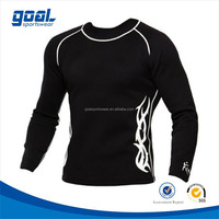 Custom sublimated black long sleeve compression rash guard shirt