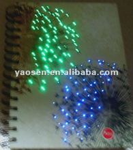 2012 new fashion notebook with colorful LED light/ optical fiber