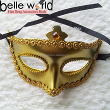 gold color halloween party plastic mask,carnival mask