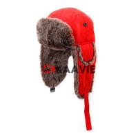 winter warm Russian ski ear flap cap red faux fur trapper hat