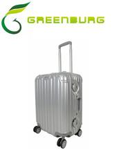 Trolley luggage/suitcase/ silver aluminium frame /rounded TSA lock luggage