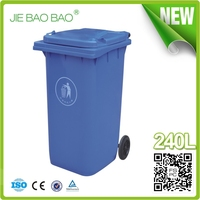 2015 new house hold products Plastic color coded dustbin logo Collection garbage receptacle Container 240 Liter With Wheels