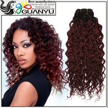 Top quality 6A two tone color curly hair weave virgin brazilian human hair extension