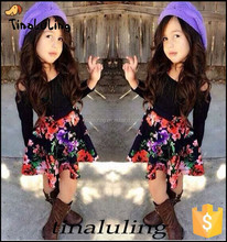 2015 latest girls floral clothing children black long sleeve t shirts with flower skirts clothes sets