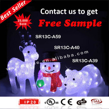 xmas decoration/ xmas light decoration/Lighted Christmas village with Santa in the chimney (MOQ: 200PCS)