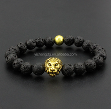 2015 Fashion hot sale tiger eye bead bracelet black lava beaded gold lion bracelet for men