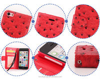 2015 best selling high quality PU leather flip case for iphone 5C, With ID Card Slot