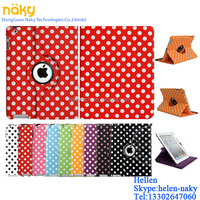 For Apple iPad Air Polka Dot Smart PU Leather Case Rotating 360 Cover Travel Stand