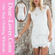 Últimas mujeres de ropa blanca del cordón Overlay Mini modelo de vestido de la oficina