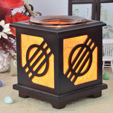 home decoration wooden candle holder, wooden candle lanterns, glass candle holder with wood base MD003