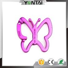 Pink butterfly shape big aluminum carabiner
