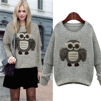 SWF15828 Autumn Winter Owl women Fashion New Design Knitwear Round Neck pullover cartoon loose Tops Knitted Women's Sweaters