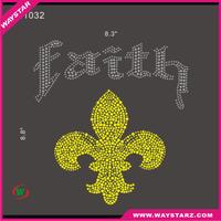 Faith With Cross Strass Motif Hotfix Rhinestone Desgin For School Children Tshirt