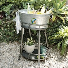 Galvanized steel ice bucket party wine/beer/water cooler with Stand
