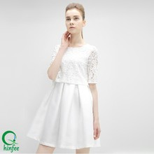 D228 Custom Tag White Pleat Lace Dress Patterns Clothes for Women