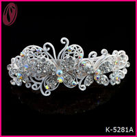 Wholesale elegant crystal stones white matte metal butterfly hair clips