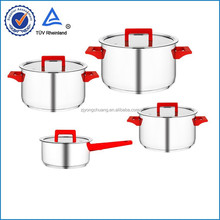 Happy 8 pcs family pot set with red bakelite handle and knobs