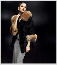 lady's Fashion Rabbit Fur Long Coat With Raccoon Fur Collar And Cuffs/Wholesale And Retail