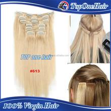 7 pieces virgin remy clip in human hair extensions 100g/pack Brazilian human hair extensions black blonde hair