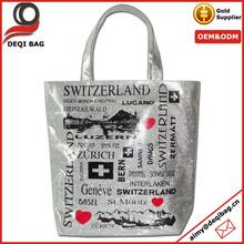 Bling Bling Bag Silver Glitter Shopping Bag City Name Printing Tote Bag