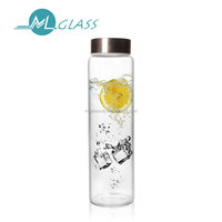 Wholesale clear glass bottle water bottle with stainless steel lid handmade drinking ware 1000ml