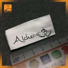 Soft polyester satin woven black brand name label, garment neck label