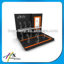 Black clear watch display stand with gloss laminated construction