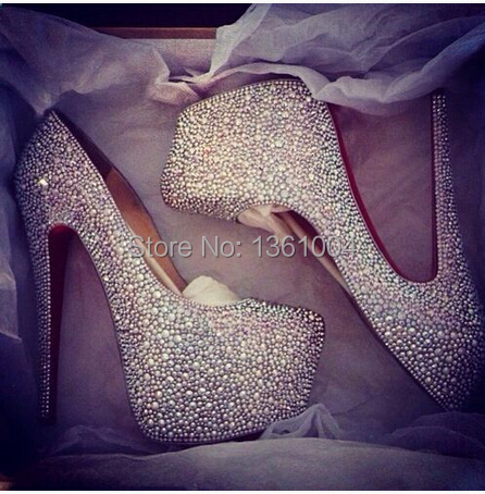 Aliexpress.com : Buy A B intensive white crystal HIGH heels ...