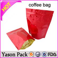 Yason 250g/500g/1kg matte coffee bag with zipper 350g side gusset coffee bag with value 2014 polupar customized design coffee ba