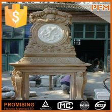 2015 hot sale best price natural stone manufacture hand carved ivory color marble fireplace