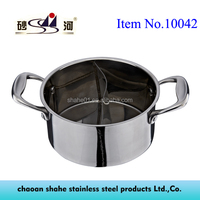 Cooking Metal Material Stainless Steel Pot Mini Hot Pot with Divider