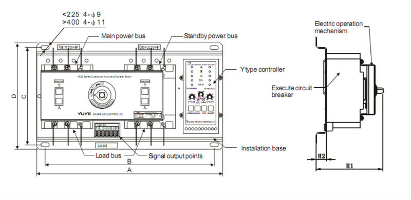 With English Controller 100a 3 Phase Dual Power Automatic Transfer ...