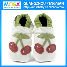 Toddler Girl Soft Sole Genuine Leather White Shoes Cherry Pattern Size 0-4 Years