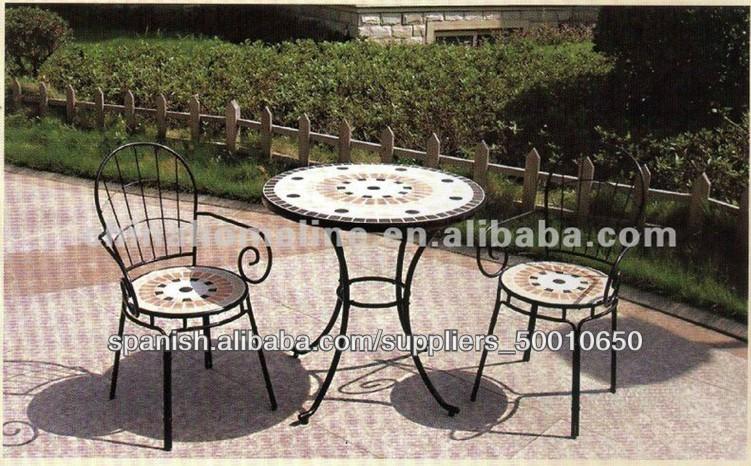 Juego mesa redonda mosaico de forja con sillas exterior - Mobiliario de forja ...