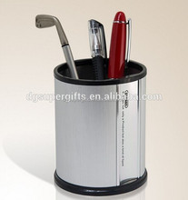 Metal silver pen stands/vase with logo customized,stationery desk tidy container