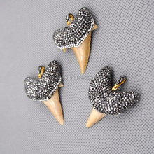 Denti di squalo p15080501 ciondolo, strass squalo denti ciondolo