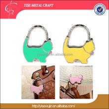 Animal Shape Kitten Threaded Handle Foldable Purse Table Holder Hook Hanger Bag Purse Handbag Metal Accessories