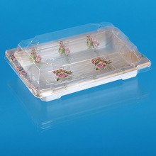Disposable PET plastic sushi container with clear plastic lid