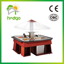 Buffet equipment commercial wooden salad bar display fridge with CE approval OEM GuangZhou manufacturer