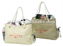 high quality custom printed canvas tote bags with side pockets