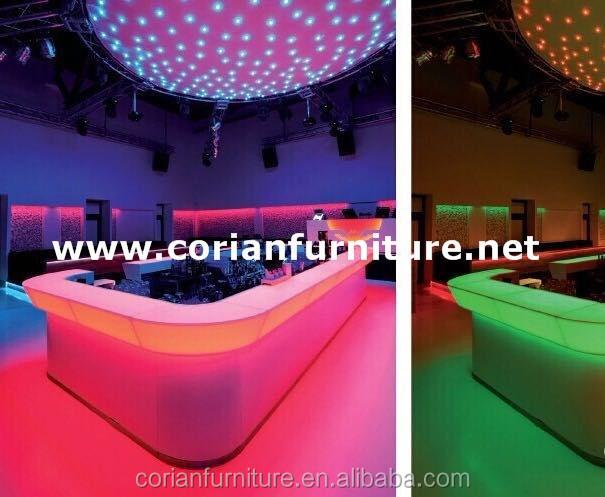 Modern design custom sized led lighted acrylic solid surface bar counter